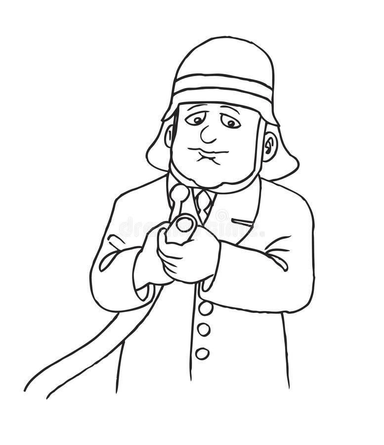 Bombeiro com mangueira e capacete ilustração do vetor