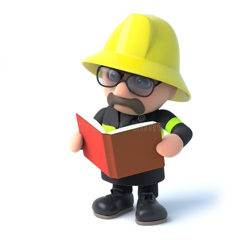 bombeiro 3d que lê um livro ilustração royalty free