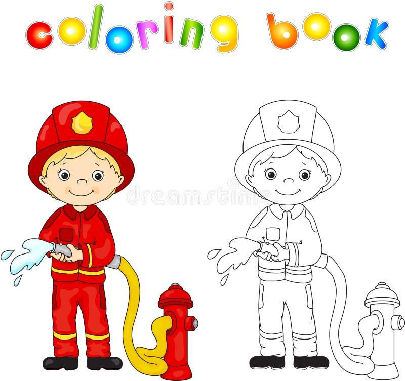 Bombeiro em um uniforme vermelho e capacete com uma mangueira em sua mão coluna ilustração stock