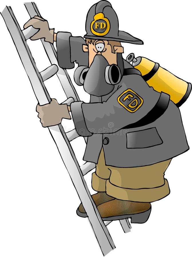 Bombeiro em uma escada ilustração royalty free