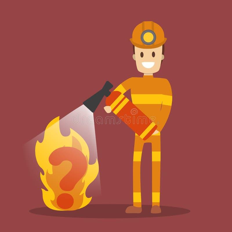 Bombeiro no fogo de combate uniforme vermelho com extintor ilustração royalty free