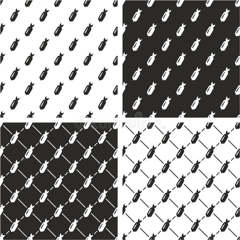 Bomben-nahtloser Muster-Satz vektor abbildung