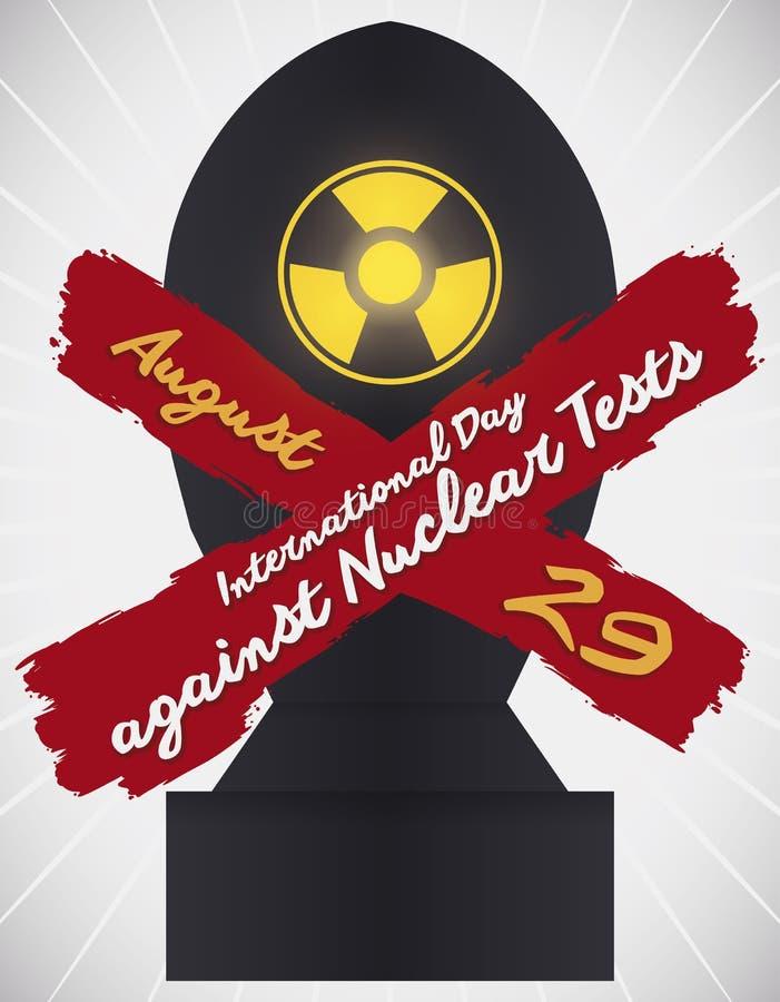 Bomben-Schattenbild verboten, um internationalen Tag gegen Atomtests zu gedenken, Vektor-Illustration vektor abbildung