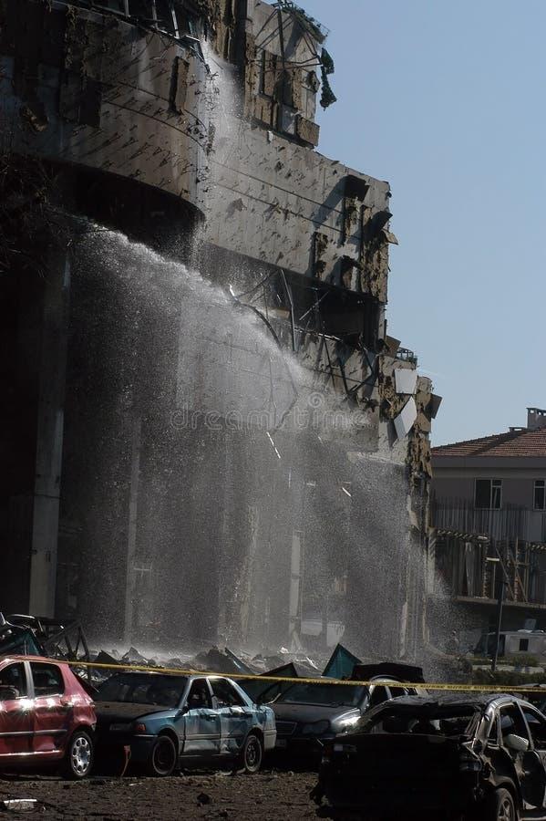 Bombenangriffe auf der HSBC-Querneigung lizenzfreie stockfotos