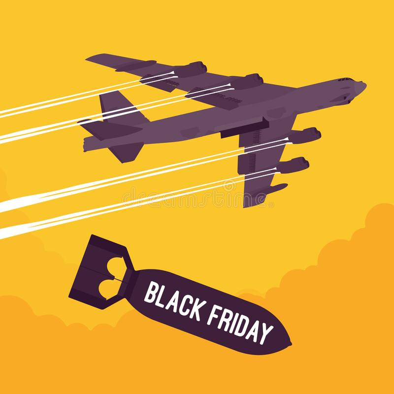 Bomber and Black Friday bombing. Aggressive heavy bomber aircraft dropping the bomb Black Friday, carring the operation to attack people, targeting on land from vector illustration