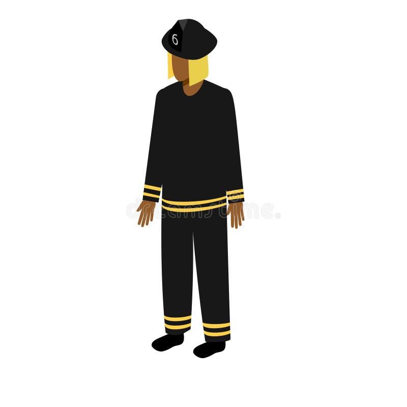 Bombero afroamericano isométrico ilustración del vector