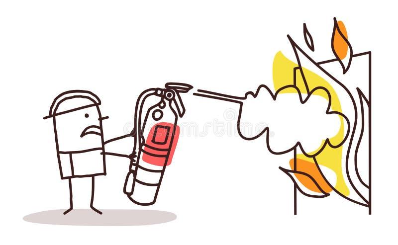 Bombero con el extintor stock de ilustración