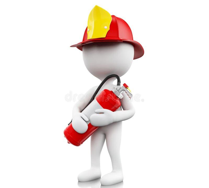 bombero 3d con el helment y el extintor stock de ilustración