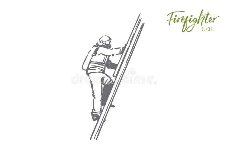 Bombero, fuego, rescate, peligro, concepto de las escaleras Vector aislado dibujado mano ilustración del vector