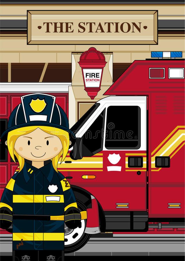 Bombero lindo de la historieta - bombero libre illustration