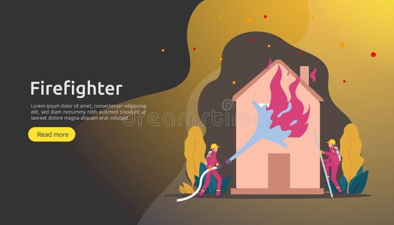 Bombero que usa el espray de agua de la manguera para la casa ardiendo de la lucha contra el fuego bombero en uniforme, salvador  ilustración del vector