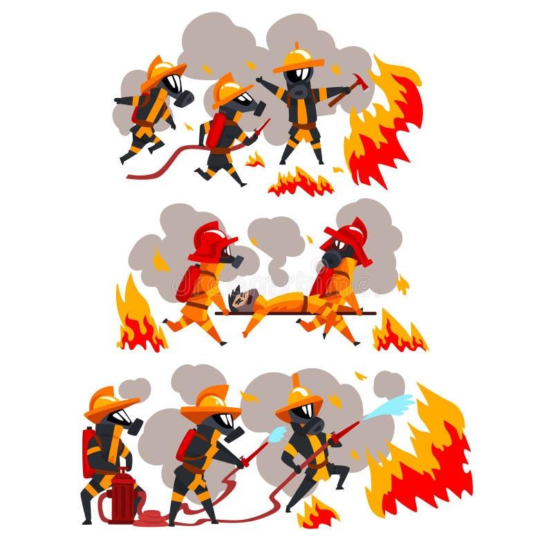 Bomberos que extinguen el fuego y que ayudan a la gente, caracteres de los bomberos en máscaras uniformes y protectoras en el vec libre illustration