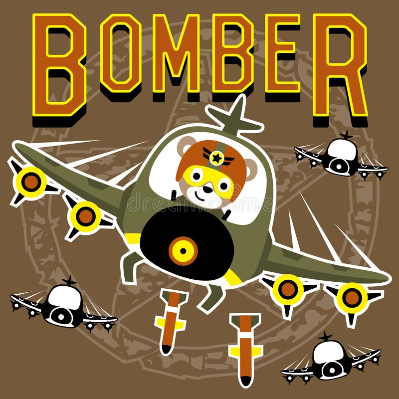 Bombers cartoon vector with funny pilot royalty free illustration