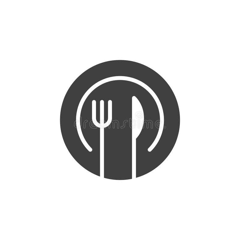 Bombez le vecteur d'icône de fourchette et de couteau, signe plat rempli, pictogramme solide d'isolement sur le blanc illustration libre de droits