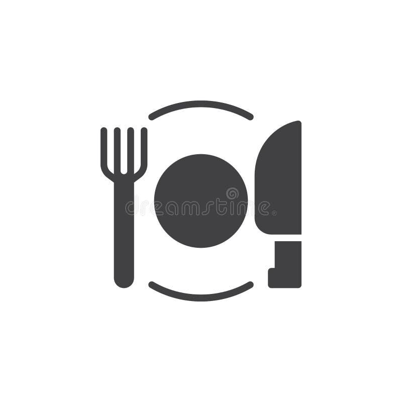 Bombez le vecteur d'icône de fourchette et de couteau, signe plat rempli, pictogramme solide d'isolement sur le blanc illustration de vecteur