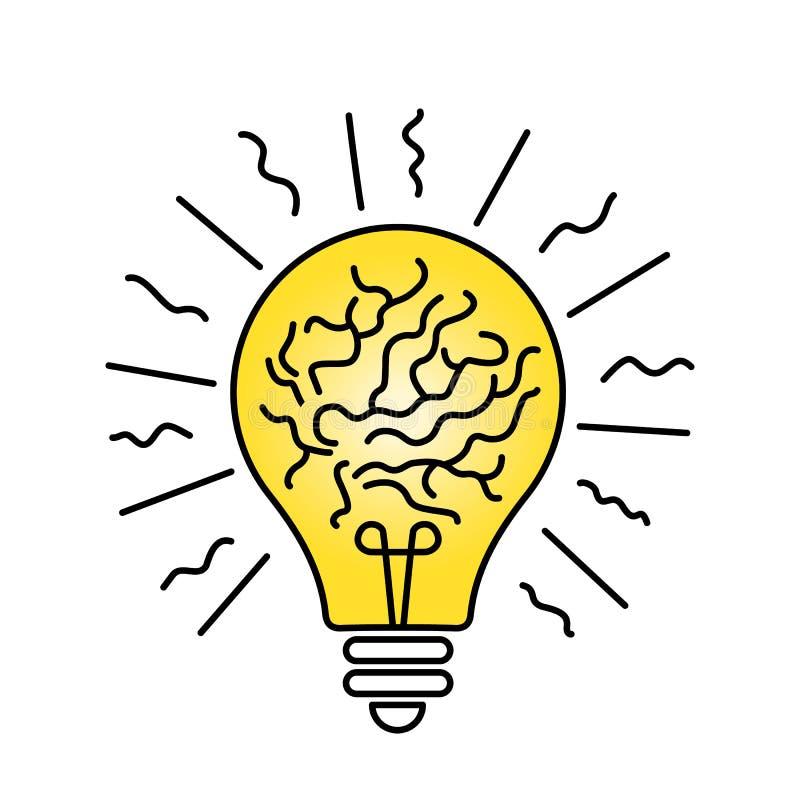 Bombilla ardiendo dentro del cerebro en estilo linear concepto de ideas en negocio y creatividad stock de ilustración