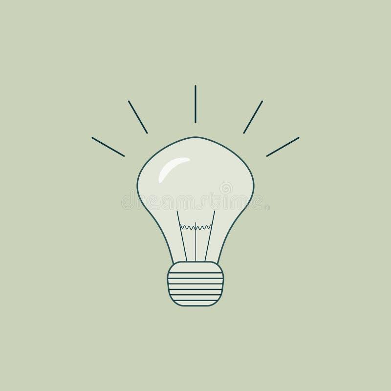 Bombilla ardiendo incluida como una metáfora o símbolo del pensamiento o de la mente creativo Ilustración del vector stock de ilustración