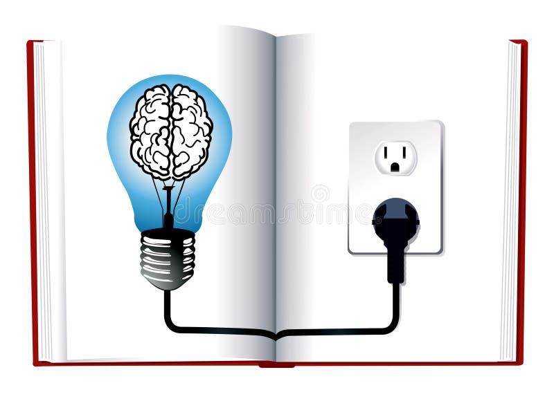 Bombilla azul en el libro ilustración del vector