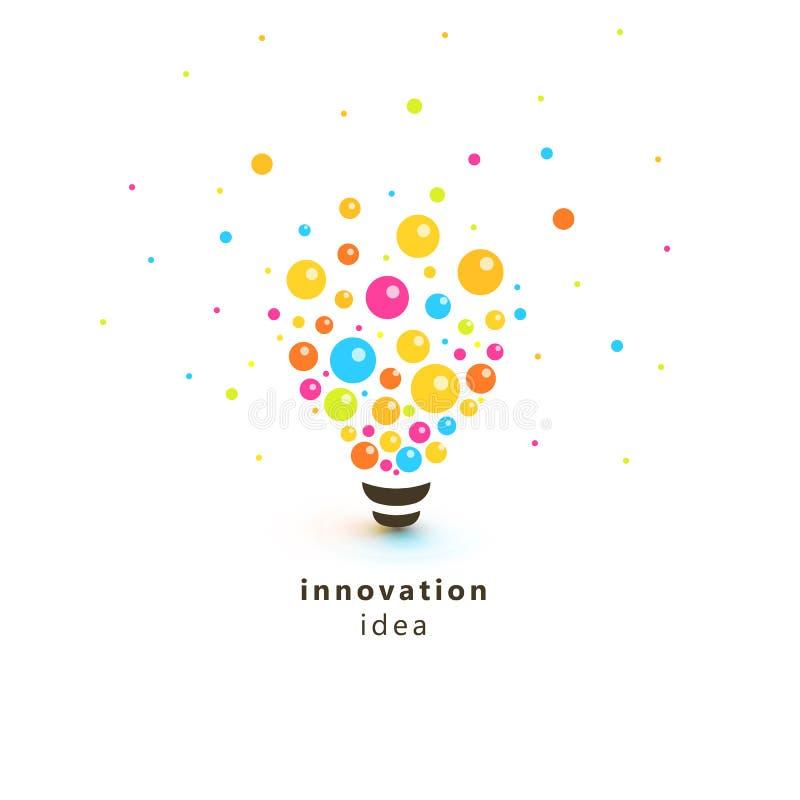 Bombilla colorida brillante, logotipo abstracto de la idea de la innovación La lámpara hecha de círculos y de bolas dispersó en e ilustración del vector