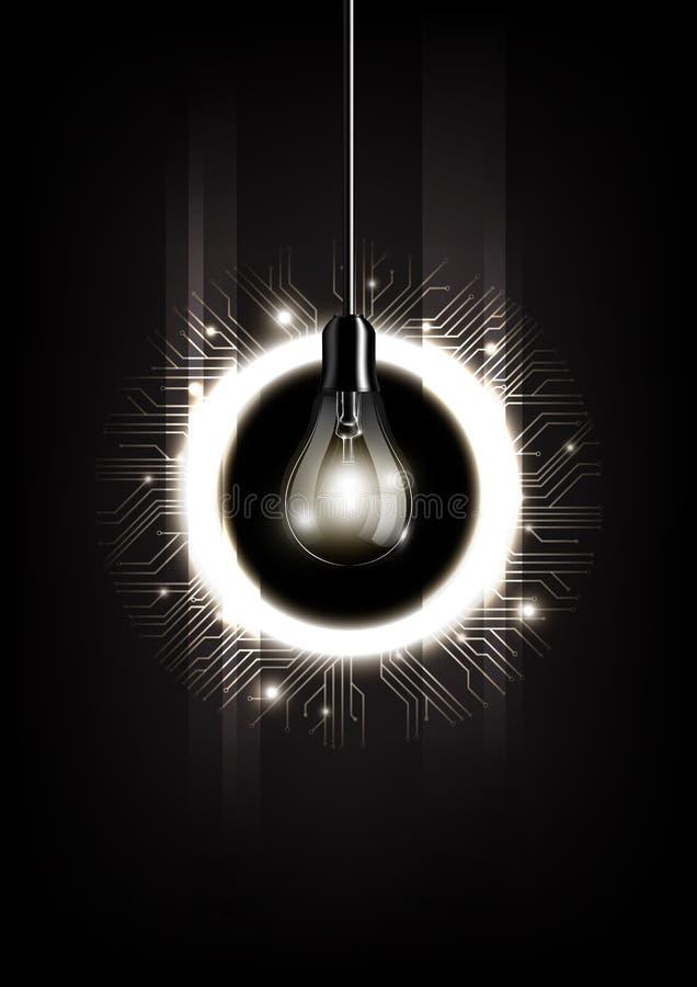 Bombilla con concepto del microchip y tecnología electrónica futurista en el fondo oscuro, vector transparente stock de ilustración