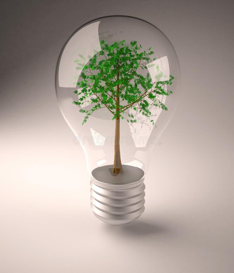 Bombilla con el árbol verde en cara ilustración del vector