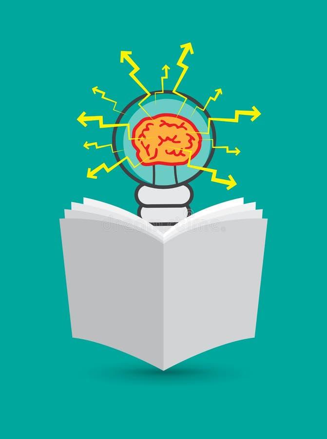 Bombilla con el cerebro dentro ilustración del vector