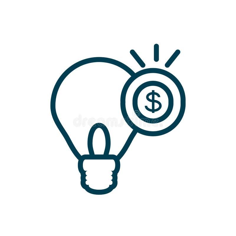 Bombilla con el icono aislado moneda ilustración del vector