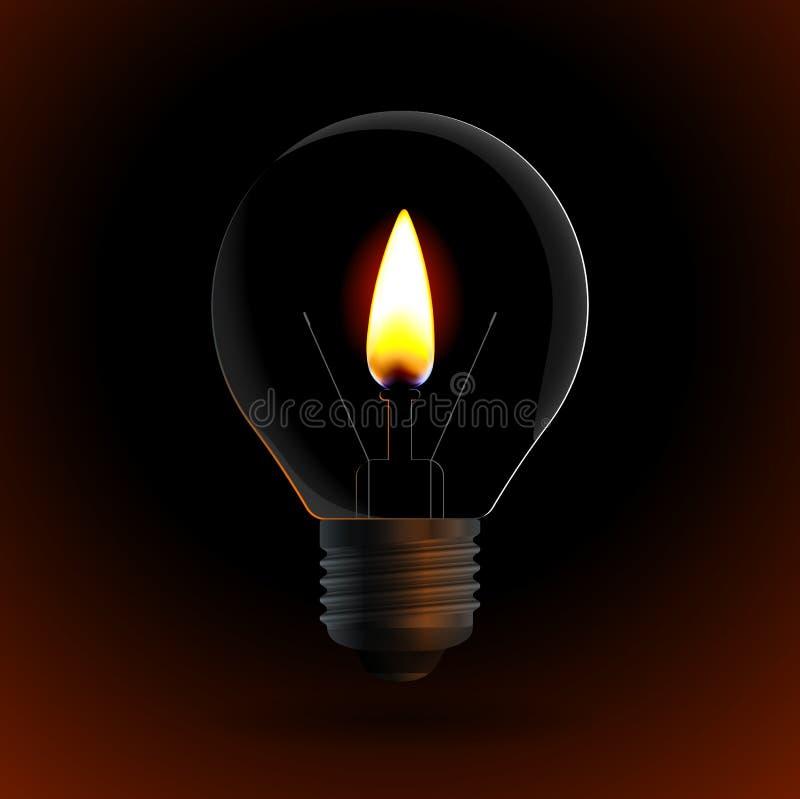 Bombilla con la vela del fuego ilustración del vector