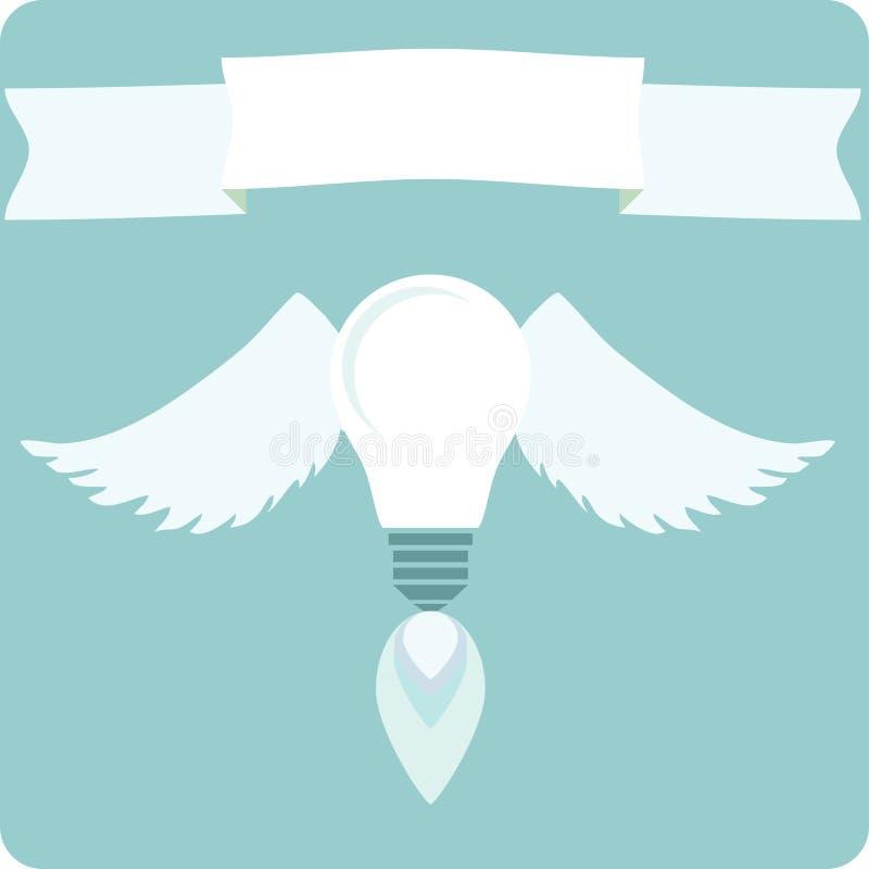 Bombilla con las alas del dibujo, concepto de nueva idea y la inspiración ilustración del vector