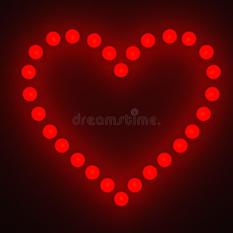 Bombilla con símbolo chispeante del corazón adentro ilustración del vector