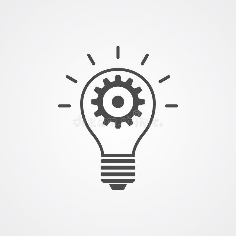 Bombilla con símbolo de la muestra del icono del vector del engranaje stock de ilustración