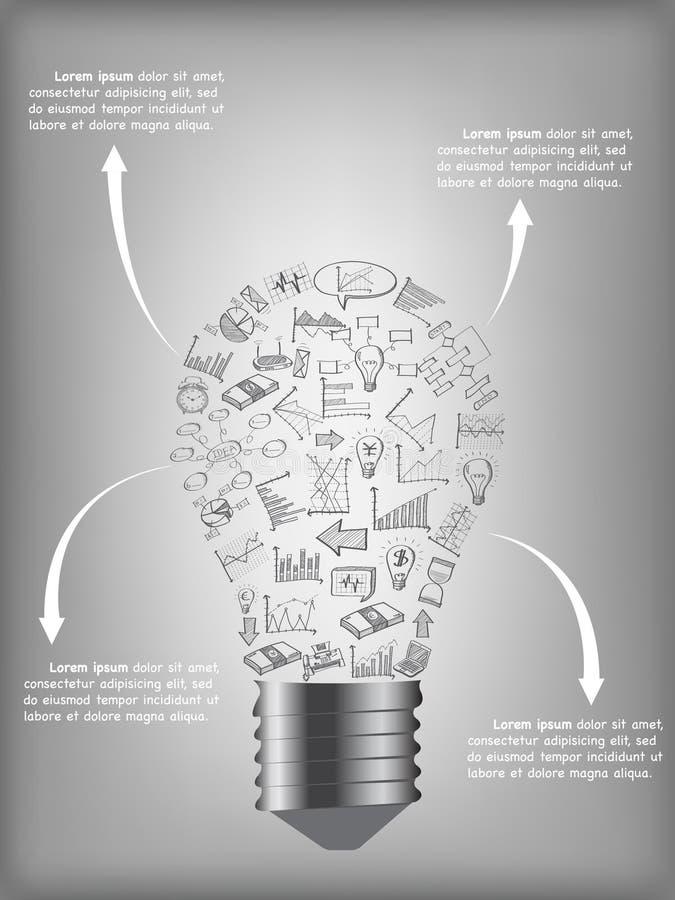 Bombilla creativa con idea creativa de los iconos del web del planeamiento del negocio, de la tecnología y de la estrategia ilustración del vector