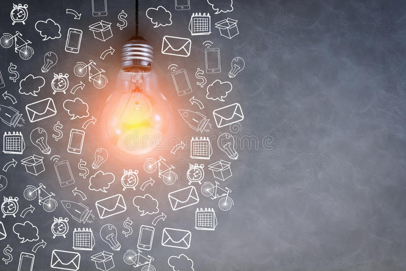 Bombilla creativa con tecnología creativa del negocio stock de ilustración