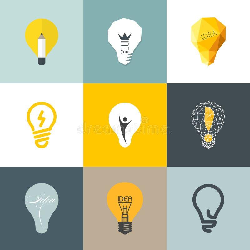 Bombilla creativa. Sistema de elementos del diseño libre illustration