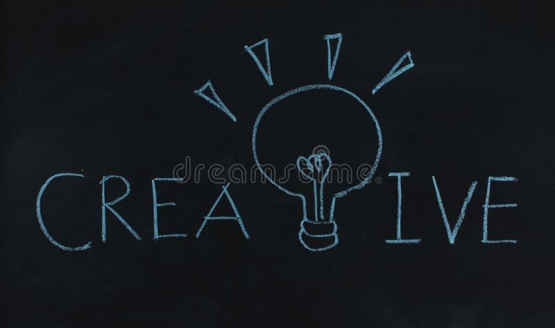 Bombilla creativa y de la palabra del dibujo imagen de archivo