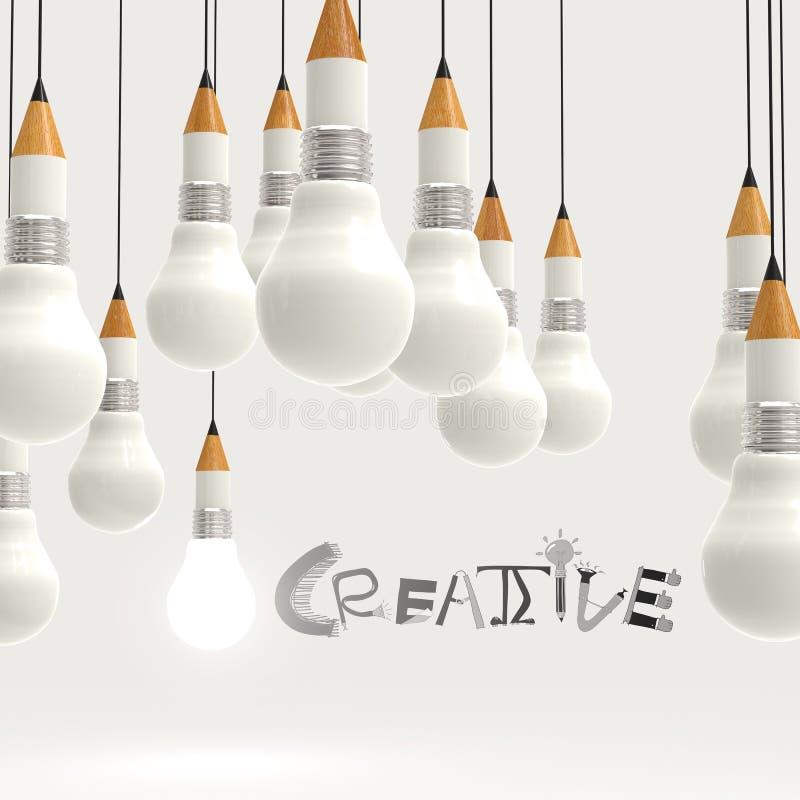 Bombilla 3d del lápiz y palabra CREATIVA del diseño ilustración del vector