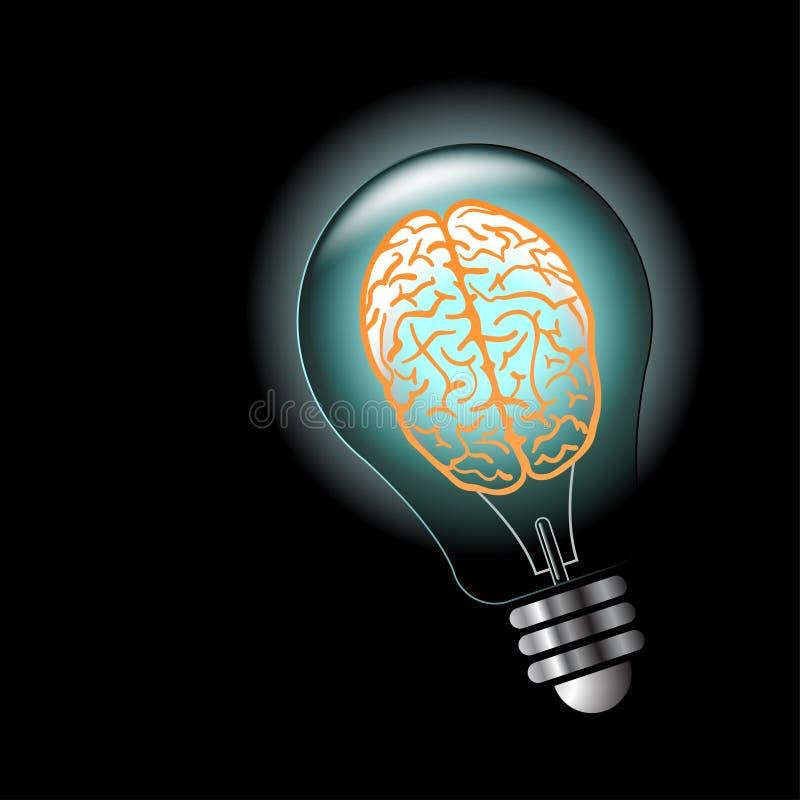 Bombilla de la idea luminosa con el cerebro dentro stock de ilustración
