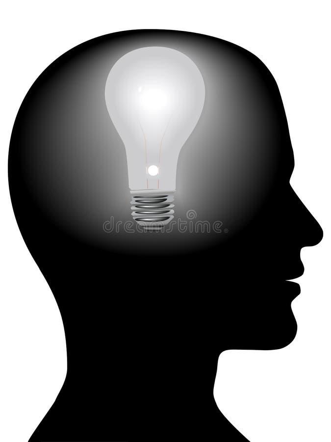 Bombilla de la mente del hombre de idea en pista de la silueta ilustración del vector
