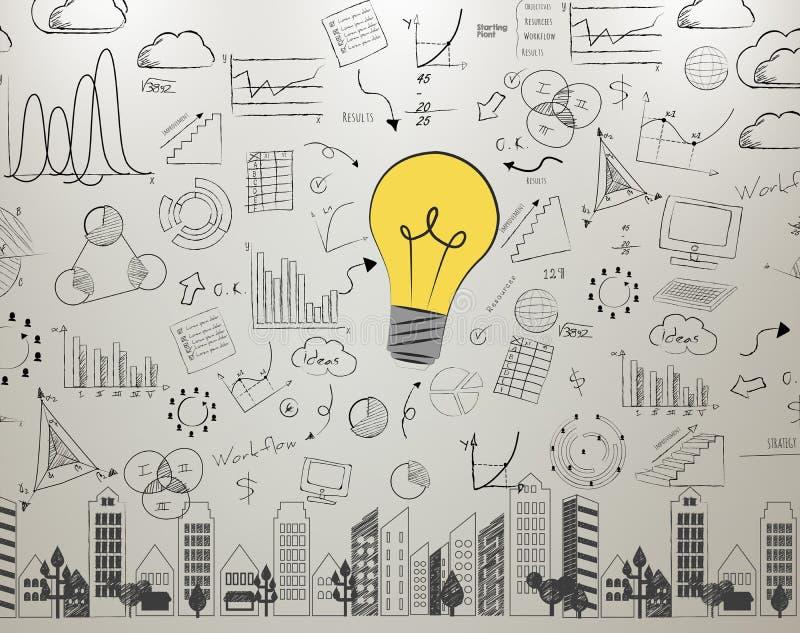 Bombilla de la pared de la idea, concepto de nuevas ideas con la nueva innovación stock de ilustración