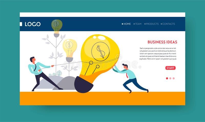 Bombilla de la plantilla de la página web de la idea del negocio libre illustration