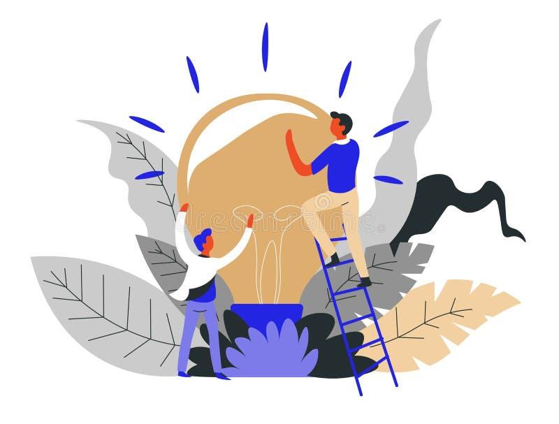 Bombilla de lanzamiento del trabajo en equipo y del concepto del negocio del hallazgo de la idea libre illustration
