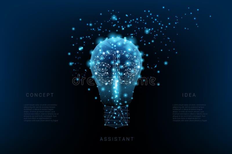 Bombilla de triángulos y cerebro y puntos luminosos Fondo del cielo nocturno azul marino hermoso Idea del concepto Vector poligon stock de ilustración