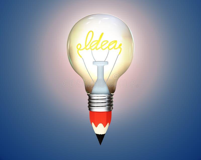 Bombilla del lápiz que brilla intensamente con la idea de la palabra stock de ilustración
