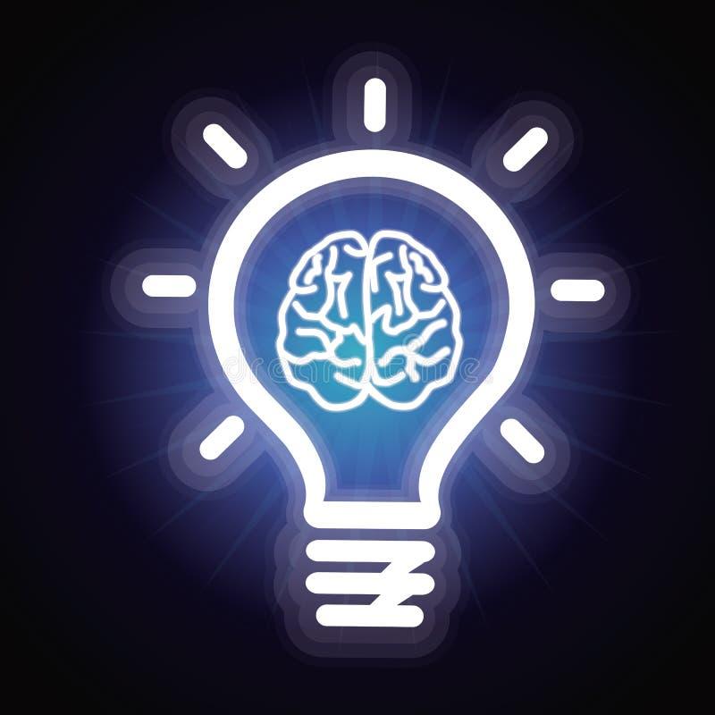 Bombilla del vector e icono del cerebro ilustración del vector