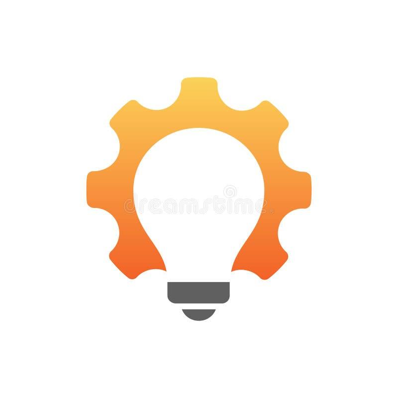 Bombilla dentro del símbolo del engranaje Ideas de New Energy libre illustration