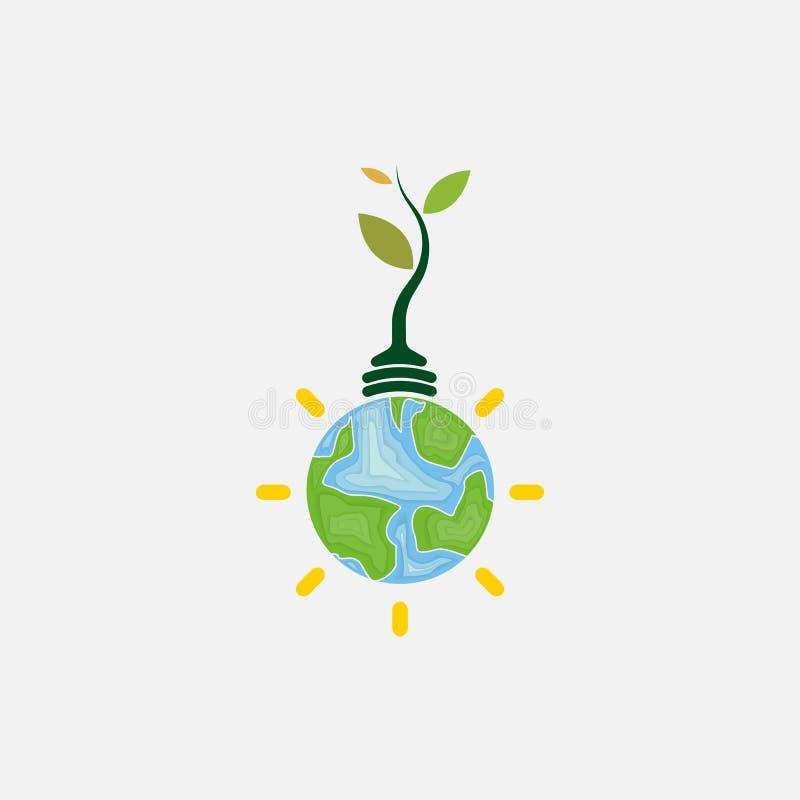 Bombilla e icono del árbol Lo del vector del concepto del día del ambiente mundial ilustración del vector