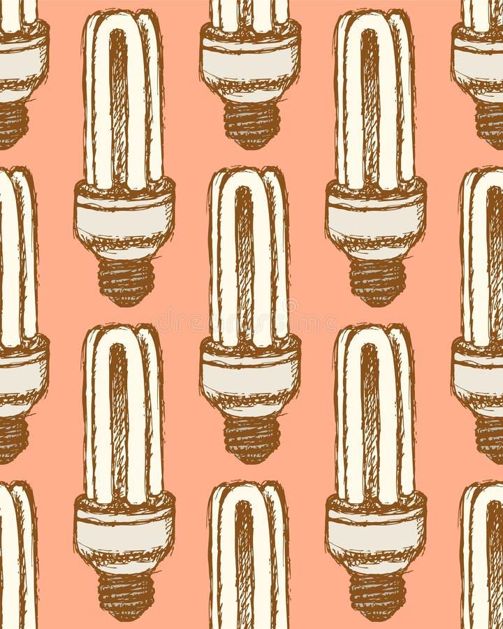 Bombilla económica del bosquejo en estilo del vintage ilustración del vector