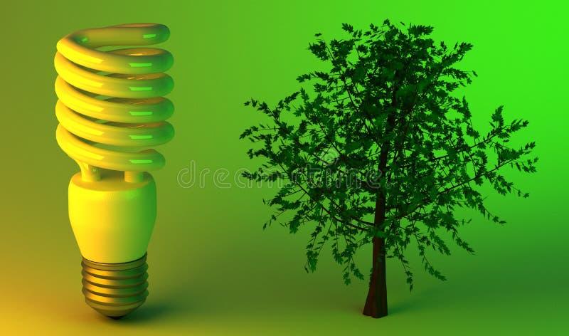 Bombilla económica y árbol libre illustration