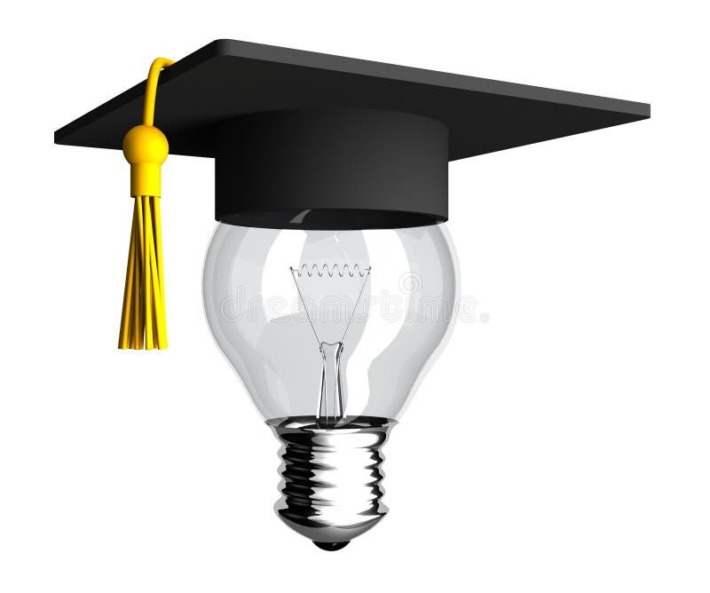 Bombilla elegante con el sombrero de la graduación stock de ilustración