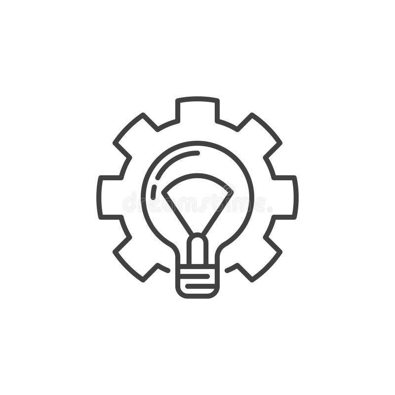 Bombilla en icono del esquema del engranaje Bombilla del vector en muestra del diente libre illustration